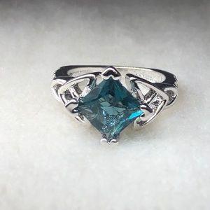 Ring - Aqua Princess Cut Stone - Silver Plated